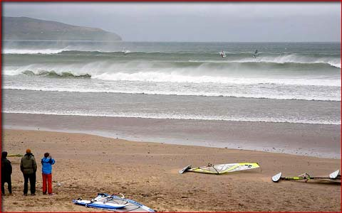 Surfing in County Kerry on the west coast of Ireland